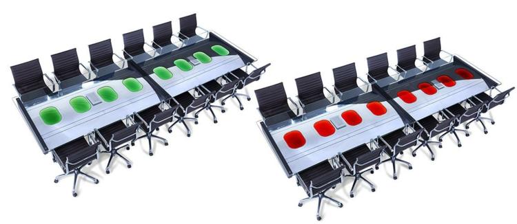 industrial style möbel ausgefallene möbel konferenzsaal tisch farbakzente