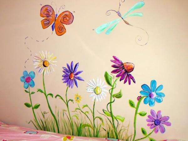 kinderzimmer deko ideen schöne wandmalerei mädchenzimmer