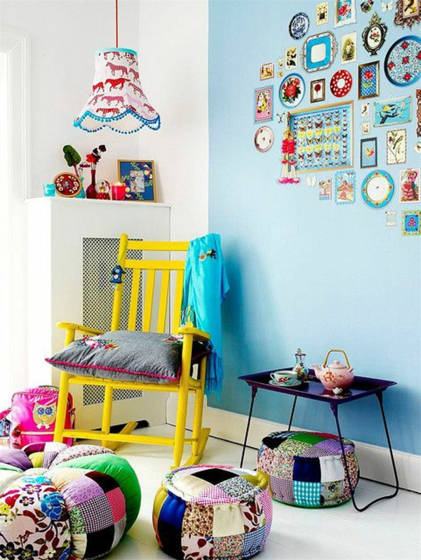 kinderzimmer dekorieren farbige hocker tolle hängelampe