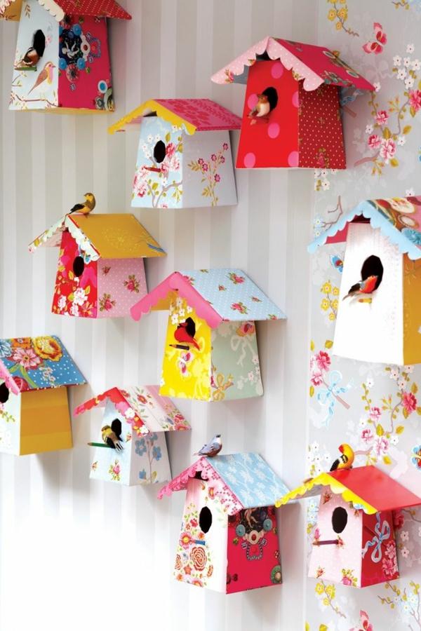 kinderzimmer dekorieren vogelhäuser an der wand
