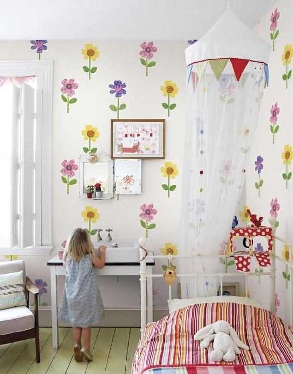 kinderzimmer wände dekorieren mädchenzimmer wandtapete