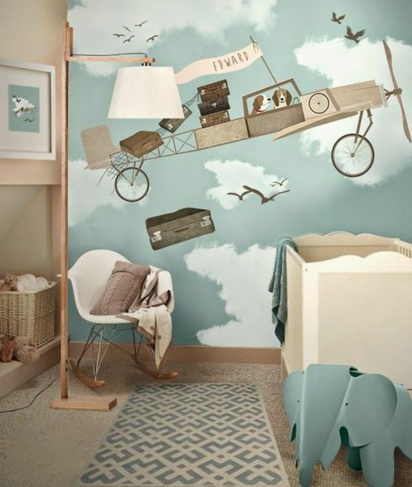 kinderzimmer wände dekorieren tolle tapete teppichläufer schaukelstuhl