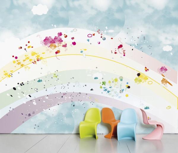 kinderzimmer wände dekorieren tolle wandtapete farbige sessel