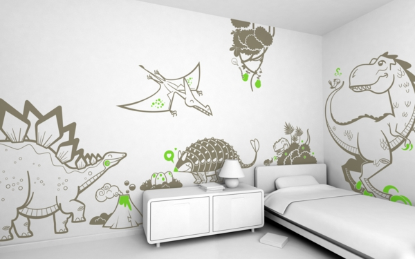 kinderzimmer wände dekorieren wandsticker dinosaurier weiße einrichtung
