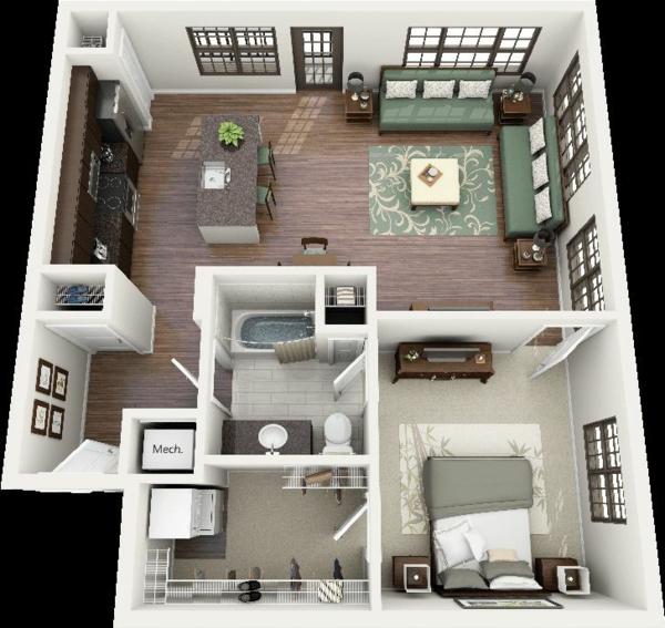 Einzimmerwohnung Einrichten Wohnung Einrichten Pictures to ...