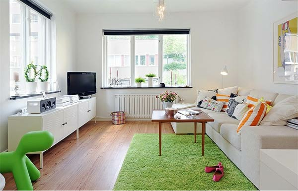 wohnung einrichten tipps schön gestalten grün teppich