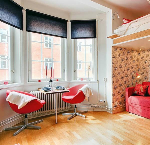 kleine apartment einrichten tipps schön gestalten wohnecke rot