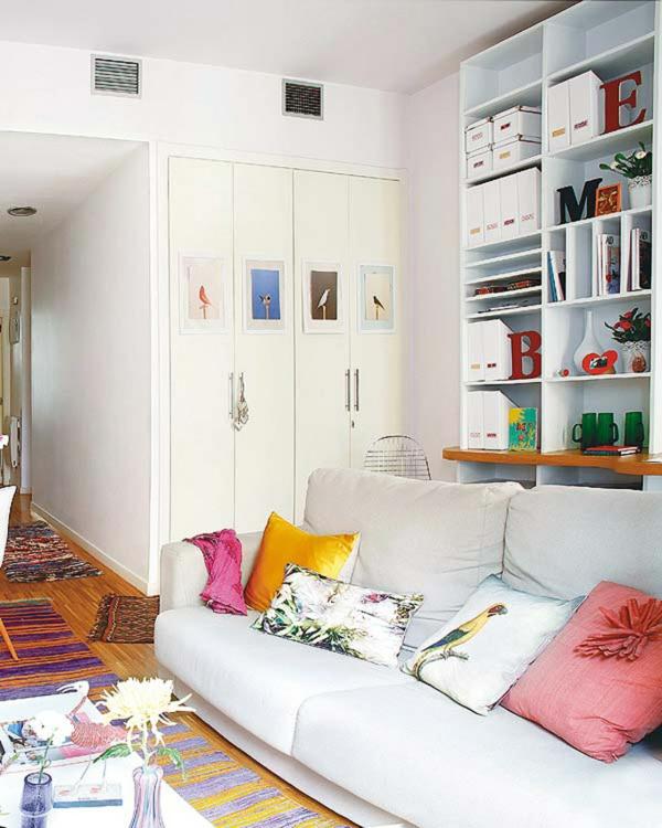 kleine eingebaut schrank wohnung einrichten tipps sofa weiß