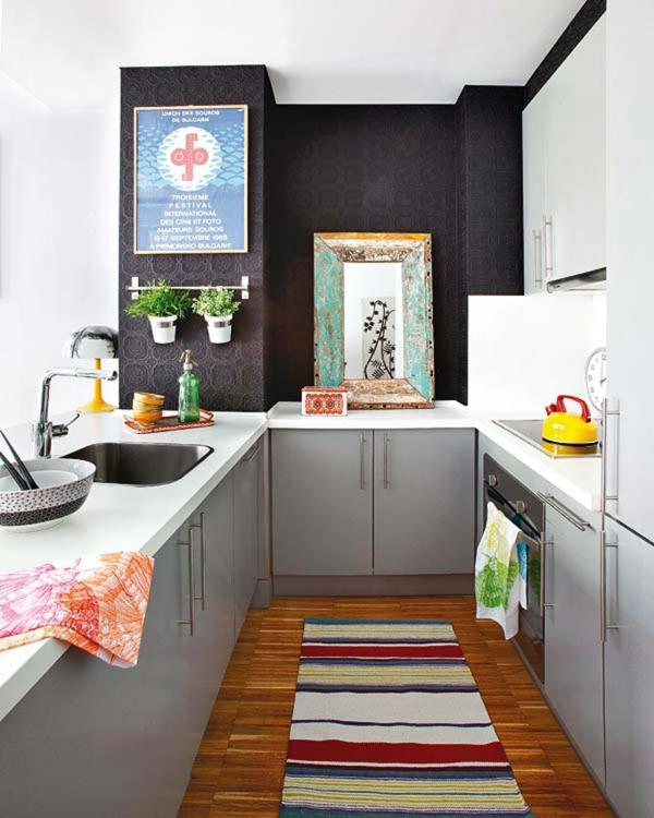 kleine apartment wohnung einrichten tipps teppich läufer