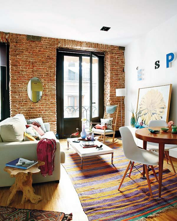 kleine apartment urban wohnung einrichten tipps ziegel wand