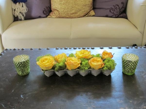 kreative basteiden eierschachtel gelbe rosen