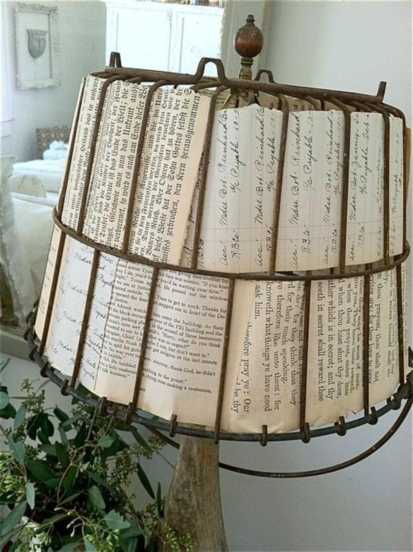 lampe papier basteln hängend tischlampe bücher