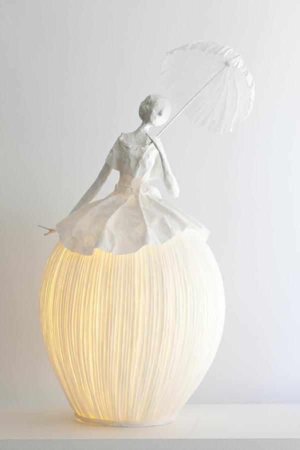 lampe papier basteln hängend tischlampe dame