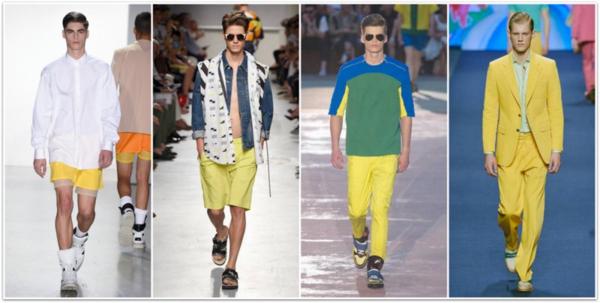 männer outfits trendfarben gelb modetrends ss 2015