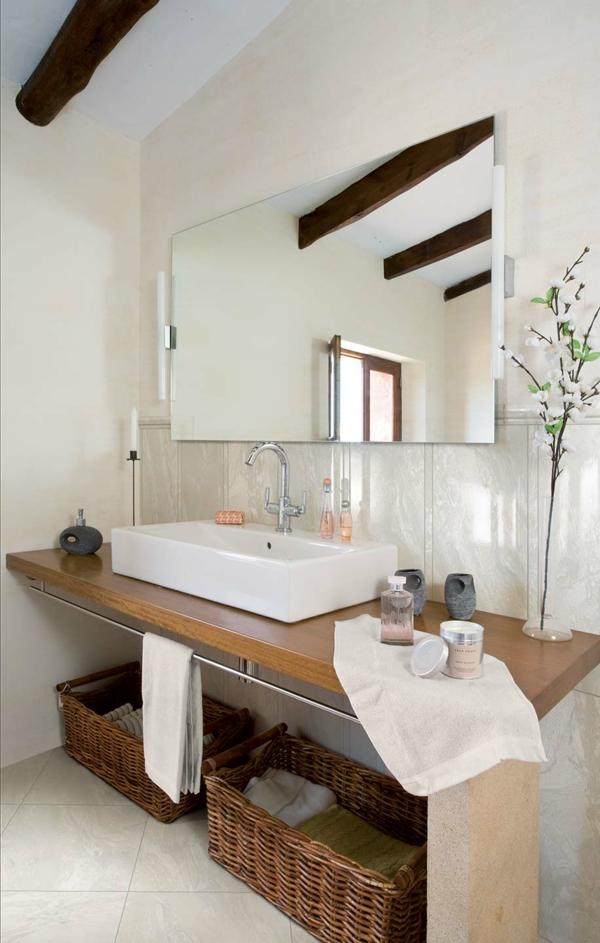 marble stone rustikal bad körbe tücher