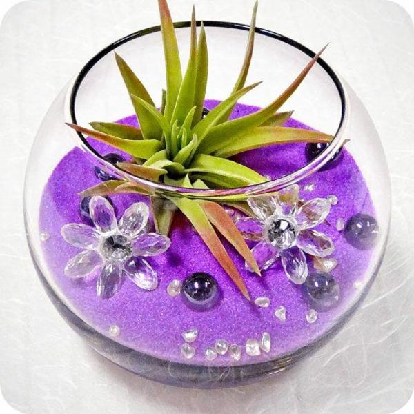 mini zen garten anlegen lila sand farben