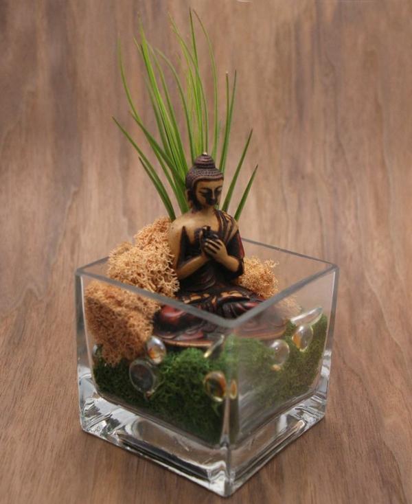 mini zen garten mini bonsai glas buddha