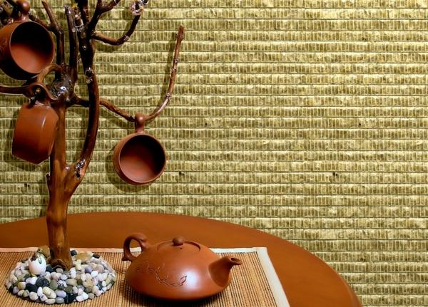 moderne tapeten schöne textur runder tisch