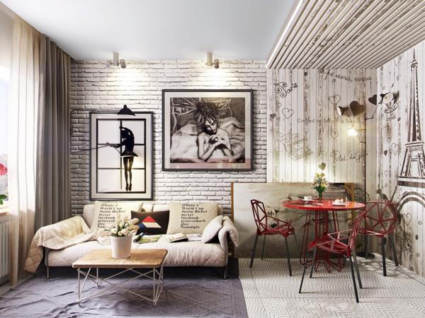 moderne tapeten schönes wanddesign im wohnzimmer mit steinoptik