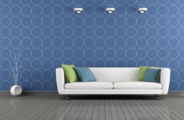 moderne tapeten wohnzimmer blaue wandtapete weies sofa - Moderne Tapeten