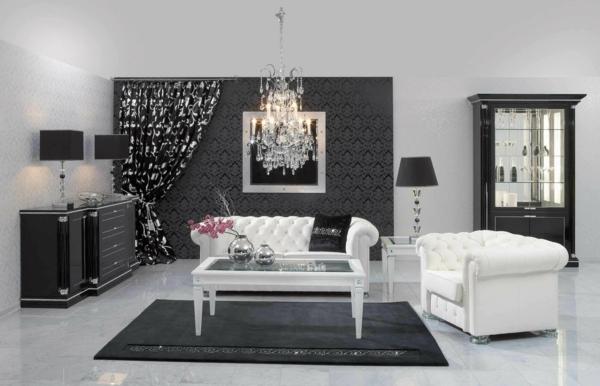 moderne tapeten wohnzimmer weiße sofas schwarzer teppich