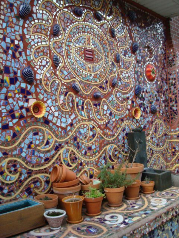 mosaik basteln anleitung mosaiksteine mauer