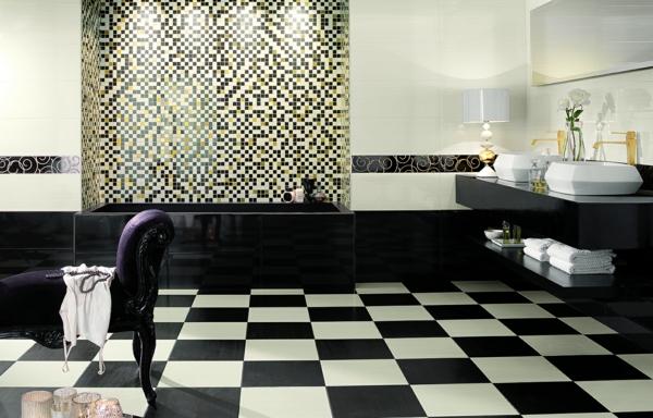 mosaik wandfliesen schwarz badezimmer seta nero