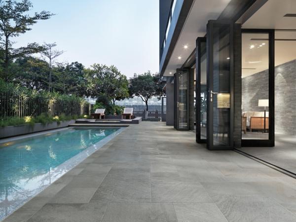 pool eingebaut garten modell glaswände