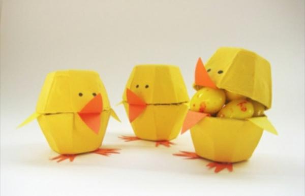 osterdeko basteln gelbe enten eierschachtel