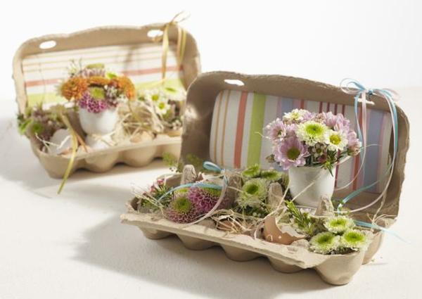 osterdeko frühlingsdekoration basteln frühlingsblumen eierschalen eierkartons