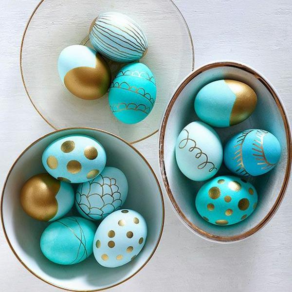 ostereier bilder blau gold muster ostereier bemalen