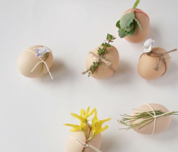 ostereier gestalten osterdeko basteln ideen garn frühlingsblumen
