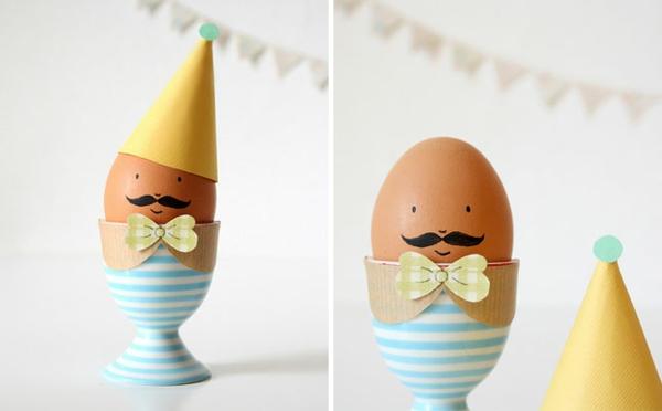ostereier gestalten osterdeko basteln ideen lustige eierbecher