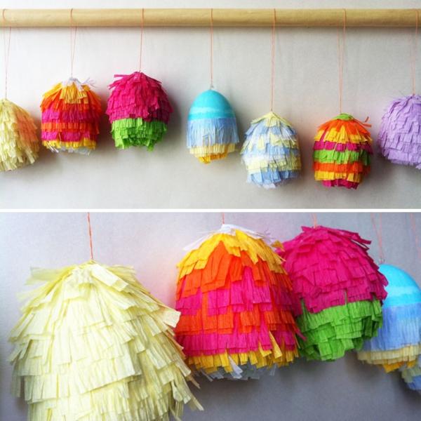 ostereier bemalen piñata buntes papier
