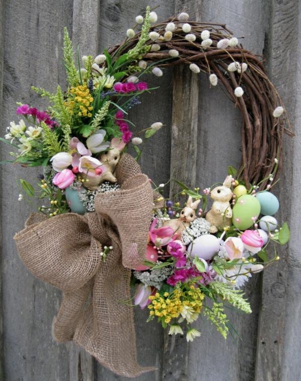 osterkranz selber basteln kreative bastelideen frühlingsblumen eier