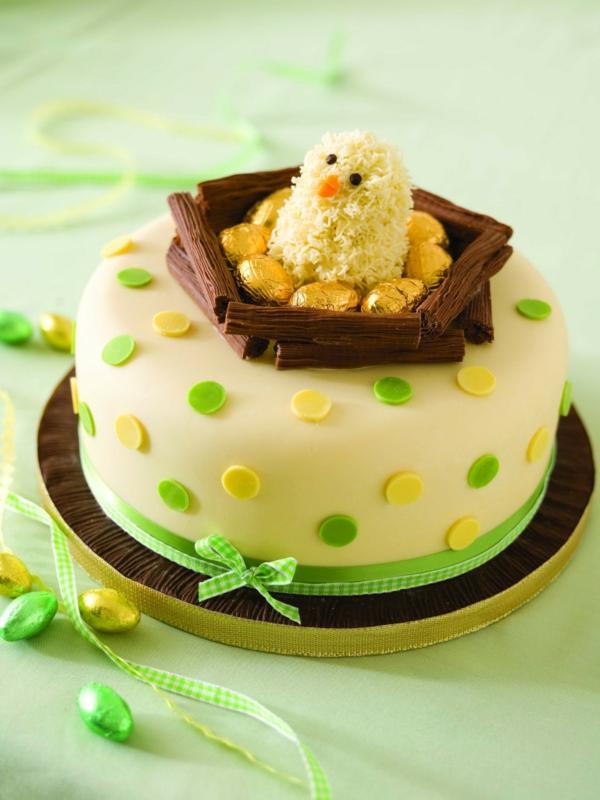 ostern kuchen backen gepunktet schleife schokoladennest