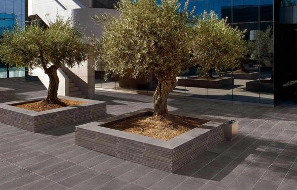 outdoor bäume fliesen außenbereich