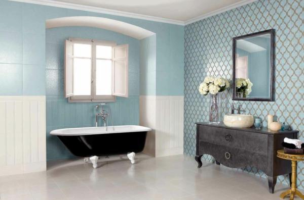provence badezimmer krallenfuß badewanne weiße bodenfliesen