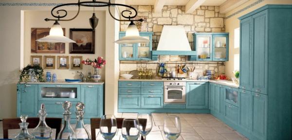 provence hellblau küchenschränke