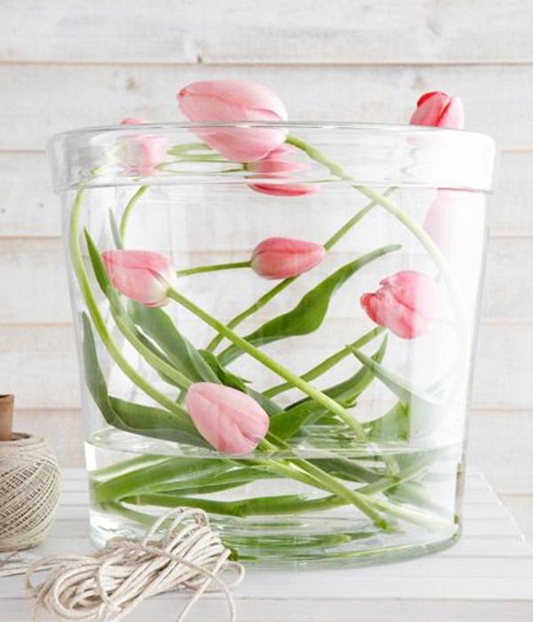 rosa tulpen schöne dekoideen glas wasser