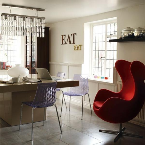 roter ei sessel design küche interieur