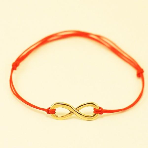 roter faden armband goldene unendlichkeit