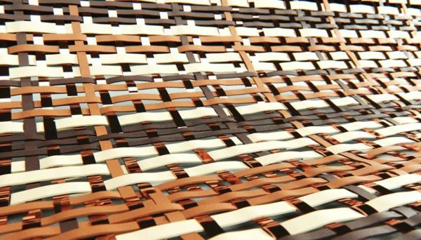 runder teppich designer geflochten leder kupfer