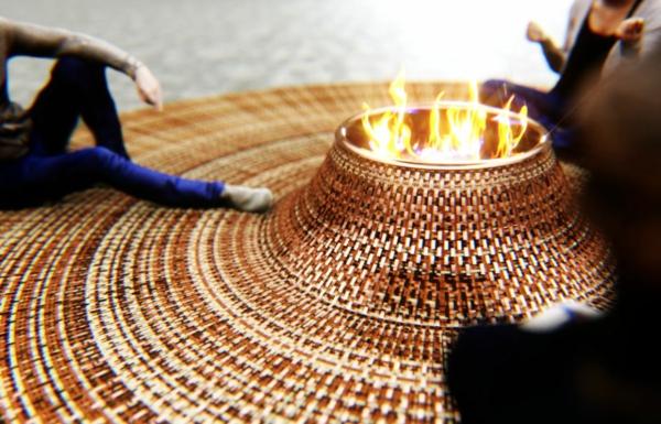 runder teppich feuerstelle rund zusammenkunft
