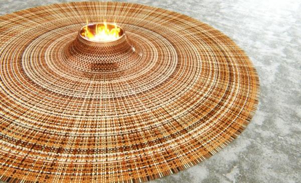 runder teppich gewebt leder kupfer lagerfeuer