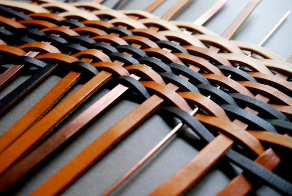 runder teppich leder kupfer gewebt