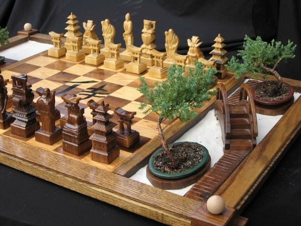 schachfiguren handgemacht holz edel japanisch