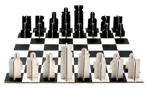 schach figuren karton schwarz weiß minimalistisch