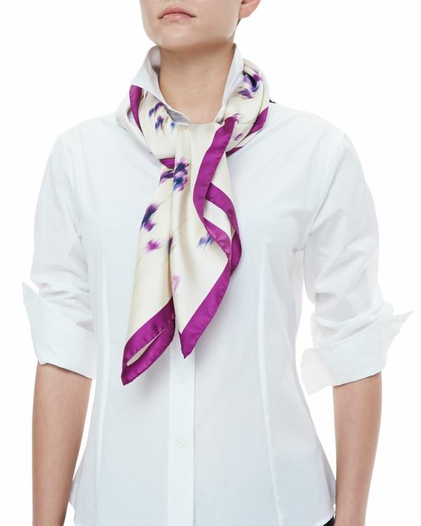 schal binden elegant business mode damen weißes hemd