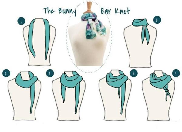 schal binden techniken bunny ear knot